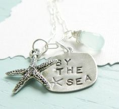 by the sea charms with sea glass and starfish pendants to go with it
