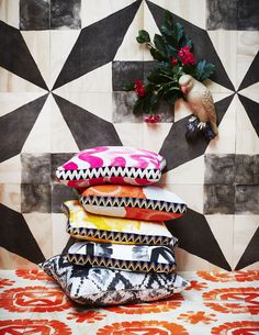 Cushions and printed timber tiles by Bonnie and Neil for their brand new 'Pottery' range, designed and made in Melbourne. Photo - Armelle Habib.