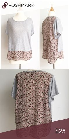 ⭐️J.Crew⭐️ Silk Mixed Media Floral Tee Top has been gently worn but in perfect like new condition. The bust measurement is approximately 23 inches across from armpit to armpit and the length is approximately 25 inches. The fabric content is 100% cotton in the front and the back is 100% silk. J. Crew Tops Tees - Short Sleeve