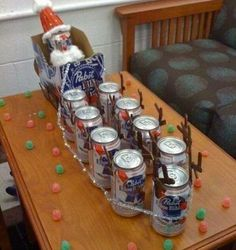Santa's Sleigh made from PBR cans!