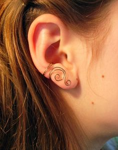 Updated set of 3 antique brass ear cuffs includes one large swirl in smooth wire