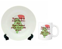 Maybe Christmas Doesn't Come From A store, Christmas Gift Set, plate and mug set, dish and cup, Funny Christmas gifts by ForYouByRose on Etsy