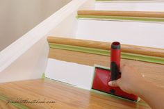 How to paint a Stair Riser in 10 Seconds or Less: A Must Have Tool! check out the blog via Pink Little Notebook