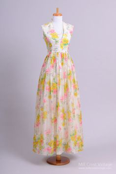 1970 Colorful Chiffon Vintage Evening Gown : Mill Crest Vintage