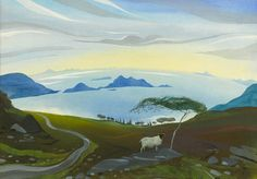 NICHOLAS HELY HUTCHINSON  Towards Iona, Western Isles  Gouache  18 x 26 ins  £2,800  Please note that the price of this painting is subject to Driot de Suite. This is an artist resale royalty which is roughly 4% of the retail price. Please contact the gallery for confirmation of the exact amount.  http://www.portlandgallery.com