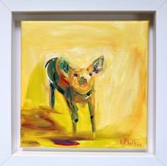 'Piglet'This is a ... Fun Art, Cool Art, Irish Art, Box Frames, Acrylic Art, Contemporary Paintings, Watercolor Art, Canvas, Animals