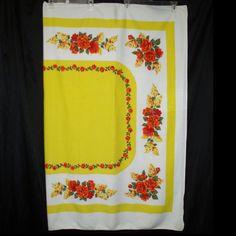 Vtg 50s Yellow Tablecloth With Romantic Coral & Red Floral Rose Print 64 x 51 #vtg #50s #1950s #YellowFloralTablecloth #CoralRedRosePrint #64x51 #SpringSummer #bright #MothballHavenVintageThreads