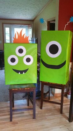 Monster wrapping paper for a special little boys 1st birthday!
