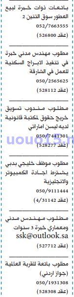 وظائف شاغرة فى الامارات: وظائف جريدة الخليج الاماراتية 11/10/2016