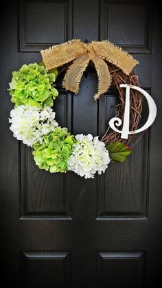 Fresh and Bright Spring Green and White Hydrangea Wreath With Personalized Monogram