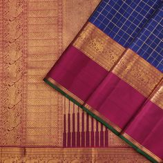 This elegant kanjivaram sari in royal blue shot with black is handwoven with checks in gold zari running along the body. Simple Blouse Designs, Saree Blouse Neck Designs, Organza Saree, Silk Sarees, Saris, Mirror Work Blouse, Checks Saree, Jewelry Design Earrings, Kanchipuram Saree