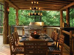 outdoor kitchen in the woods