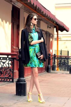 Shop this look on Kaleidoscope (shirt, skirt, blazer, sunglasses, earring, shoes, purse)  http://kalei.do/W2Nqgsq97ujS9HAg