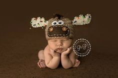 Moose Hat with christmas lights newborn by treslittlekings on Etsy