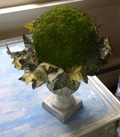 Moss Topiary Fall Decor Fall Urn Holiday by BlessMyNestShop