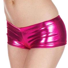 Generic Women Steel Tube Dance Sexy Hot Metallic Faux Leather Booty Mini Short Pants Hot Pink * To view further for this item, visit the image link.