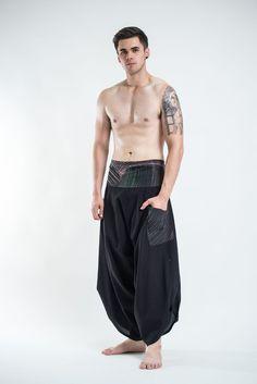Men's Thai Button Up Cotton Pants with Hill Tribe Trim Black – Harem Pants