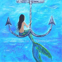 """Mermaid Painting Original Canvas Painting Mermaids Anchor Underwater Ocean Fantasy """"Mermaids Anchor Hangout"""" Leslie Allen Fine Art"""
