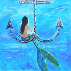 "Mermaid Painting Original Canvas Painting Mermaids Anchor Underwater Ocean Fantasy ""Mermaids Anchor Hangout"" Leslie Allen Fine Art"
