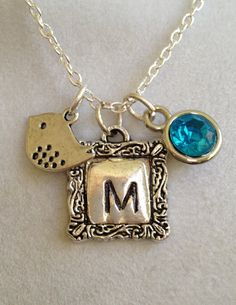 Initial M Birthstone and Bird Necklace by joytoyou41 on Etsy, $30.00