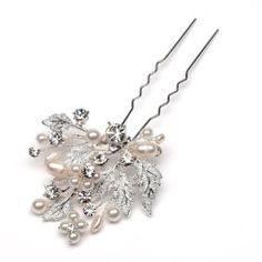 Bridal Hair Pin, Floral & Leaf Pearl Design...but I would use it for any occasion!