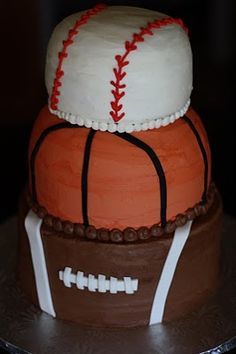 Baker's Cakes: Football, Basketball, and Baseball Cake!