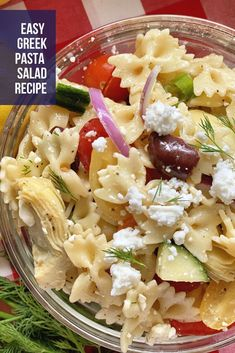 Delicious Greek Pasta Salad made in 30 minutes. Perfect for your next barbecue or pot luck dinner! #pastasalad #potluck #potluckrecipes #dinner #sidedish #pasta Meatless Recipes, Potluck Recipes, Side Dish Recipes, Whole Food Recipes, Healthy Recipes, Greek Salad Pasta, Best Side Dishes, Pasta Salad Recipes, How To Make Salad