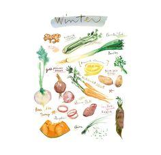 Légumes d'hiver Affiche cuisine décor cuisine par lucileskitchen