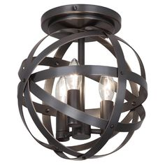 Metal Strap Flush Mount Ceiling LightNote: Would change bulbs to edison to make more masculine