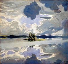 Clouds Above a Lake Painting by Akseli Gallen Kallela, Oil Painting Lake Painting, Painting & Drawing, Landscape Art, Landscape Paintings, Oil Paintings, Photo D Art, Scandinavian Art, Nocturne, Art Design