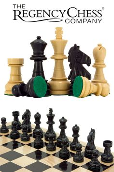The Regency Chess Company - Emerald Series Ebonised Boxwood Chess Pieces Inches - Individually hand turned. Ebonised boxwood and boxwood. Chess Sets, Chess Pieces, Flocking, Perfect Match, Regency, Emerald, Handmade, Products, Heineken