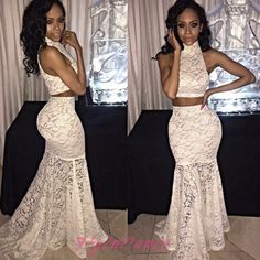 2 Pieces Prom Dresses 2016 New Style White Prom Dress With High Neckline Sexy Hot Evening Dress For Teens Girls
