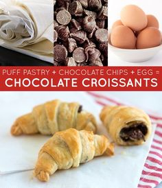 puff pastry + chocolate chips + egg = chocolate croissants | 33 Genius Three-Ingredient Recipes.  ** This recipe turned out great and gave me something a little different to donate to my daughters choir Christmas party! Will be making these again!