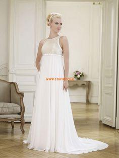 Mousseline polyester Chic & Moderne Sans manches Robes de mariée 2013
