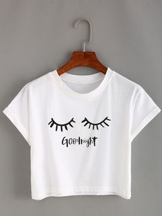 To find out about the Eyelash Print Crop T-shirt at SHEIN, part of our latest T-Shirts ready to shop online today! T Shirt And Shorts, Crop Shirt, Crop Top Outfits, Casual Outfits, Casual Dresses, Teenager Outfits, Girl Outfits, Cute Crop Tops, Cropped Tops