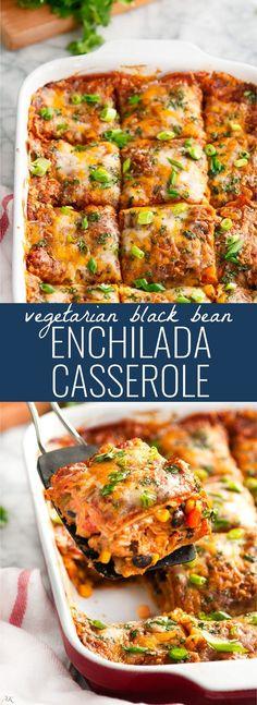 Vegetarian Black Bean Enchilada Casserole | aberdeenskitchen.com