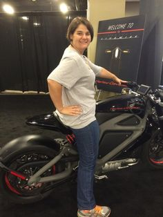 Melissa, our dealer operator, checking out the exciting new Harley-Davidson Livewire Electric Prototype Motorcycle!