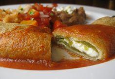 "Chile Reyeno with a ""Philadelphia"" tomatillo cream and a black bean mango salad."