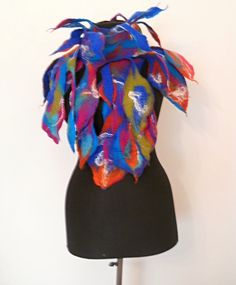 Designer scarf  Felt scarf  Long scarf  Leaf by FeltNunoFelted