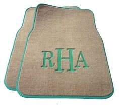 Custom Monogrammed Car Mats. I like how these are more neutral and not so girly that way the hubbs doesn't feel so feminine driving the car!
