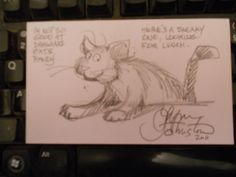 LYNN JOHNSTON-AUTOGRAPH/SIGNED INDEX CARD-FOR BETTER OR WORSE-  A CAT