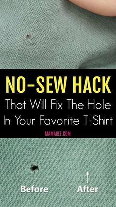 Sewing Tips Helpful Hints Read later.No-Sew Hack That Will Fix The Hole In Your Favorite T-Shirt - Stop what you are doing because this no-sew hack will fix the hole in your best T-Shirt. We can be clumsy and careless sometimes. The worst thing is when Sewing Hacks, Sewing Tutorials, Sewing Tips, Sewing Ideas, Sewing Crafts, Sewing Basics, Fat Quarter Projects, Techniques Couture, Sewing Techniques