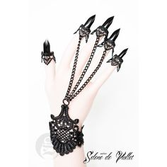 Lace bracelet with slave claw rings by Selene by SeleneDeViollet