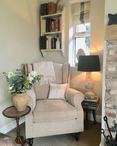 Little corner of my lounge which I re styled after half a bottle of mulled wine a few weeks ago 💃hubby doesn't like it because you can't see the tv from that chair 🙄 the chair does actually match the walls in real life 🤣 Little Corner, Mulled Wine, Cosy, Real Life, Walls, Lounge, Decor Ideas, Chair, Country