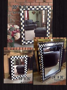 "Hand painted black and white checked wall mirror -large mirror- 24"" x 30"" or 30"" x 36"" mirror"