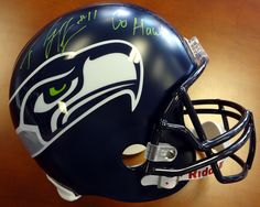 "Percy Harvin Autographed Seattle Seahawks Full Size Helmet """"Go Hawks"""" In Green PSA/DNA"