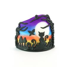 Cat Candle Holder polymer clay tea light holder butterfly