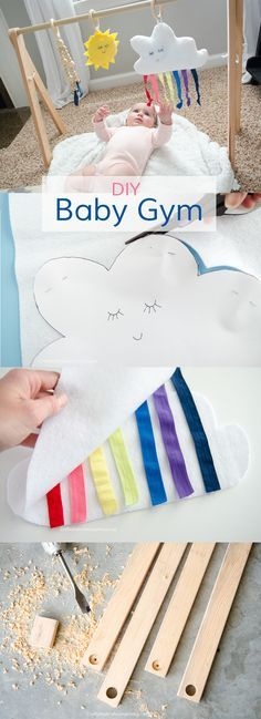 DIY Baby Gym tutorial with Free Printable patterns for the Sleepy Rainbow Cloud, sun, and raindrop