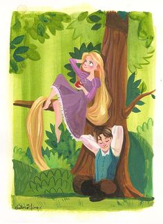 """Together"" By Victoria Ying - Original Watercolor on Paper, Disney #DisneyFineArt #Tangled #Rapunzel"