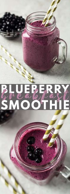 Blueberry Breakfast Smoothie – A deliciously thick and creamy blueberry smoothie… Blueberry Breakfast Smoothie – A deliciously thick and creamy blueberry smoothie that is healthy and full of flavour. Makes a perfect breakfast or snack! Diet Smoothie Recipes, Yummy Smoothies, Smoothie Diet, Breakfast Smoothies, Detox Breakfast, Blueberry Breakfast, Breakfast Recipes, Brunch Recipes, Breakfast Ideas